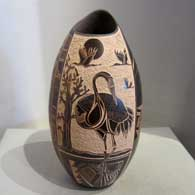 Brown jar with sgraffito design