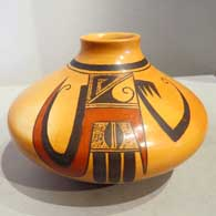 Sikyatki-style polychrome jar with bird element and geometric design