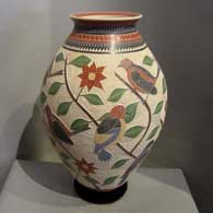 Sgraffito and painted designs on a polychrome vase