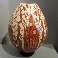 Sgraffito cathedral and Day of the Dead motif on a red-slipped beige jar