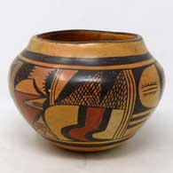 Polychrome jar with bird element and geometric design, made by Paqua Naha