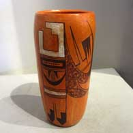 Polychrome cylinder with eagle tail and geometric design