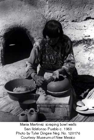Maria Martinez scraping bowl walls San Ildefonso Pueblo c. 1950 Photo by Tyler Dingee Neg. No. 120176 Courtesy Museum of New Mexico