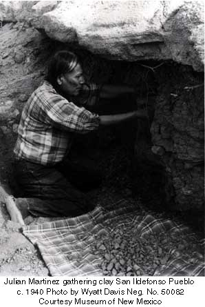 Julian Martinez gathering clay San Ildefonso Pueblo  c. 1940 Photo by Wyatt Davis Neg. No. 50082 Courtesy Museum of New Mexico