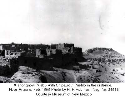 Mishongnovi Pueblo with Shipaulovi Pueblo in the distance.   Hopi, Arizona, Feb. 1909