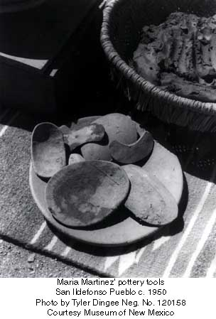 Maria Martinez pottery tools San Ildefonso Pueblo c. 1950 Photo by Tyler Dingee Neg. No. 120158 Courtesy Museum of New Mexico