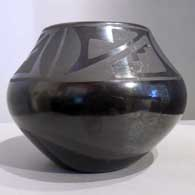 Black on black jar with kiva step and geometric design  , click or tap to see a larger version
