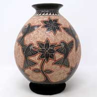 Polychrome jar with sgraffito and painted hummingbird, branch, flower and geometric design, click or tap to see a larger version