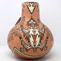 Polychrome jar with kiva step handle and Horned Toad of the Antway Chant design 1993 New Mexico State Fair 1st Premium Ribbon, click or tap to see a larger version