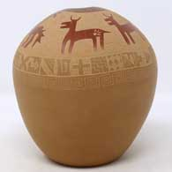 Brown and sienna jar with organic opening and sgraffito hunters, deer and geometric design, click or tap to see a larger version