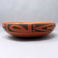 Polychrome bowl with katsina, eagletail and geometric design inside, geometric design outside, click or tap to see a larger version