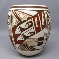 Polychrome jar with 4-panel bird element and geometric design, click or tap to see a larger version
