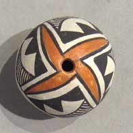Polychrome seed pot with geometric design, click or tap to see a larger version