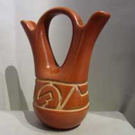 Red wedding vase carved with geometric design , click or tap to see a larger version