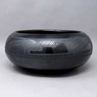 Black on black bowl with a 4-panel kiva step geometric design, click or tap to see a larger version