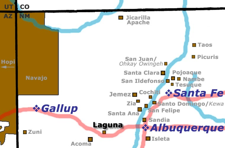 Location map of Laguna Pueblo