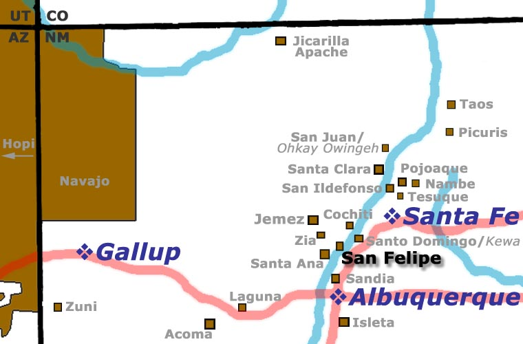 San Felipe Pueblo location map
