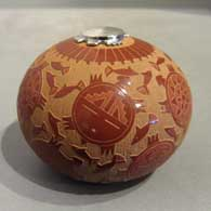 Seed pot with sgraffito design and silver lid