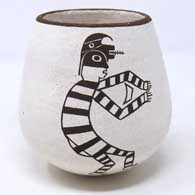 Black and white jar decorated with a Koshare figure