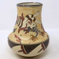 Polychrome jar decorated with Koshare figures and geometric design